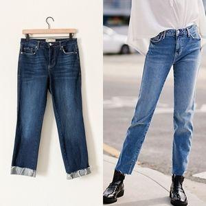 Free People Frayed Hem Girlfriend Mom Jeans